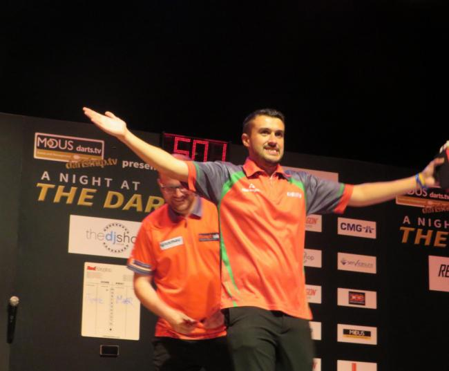Jamie Lewis encourages the crowd before the final. PICTURE: Western Telegraph.