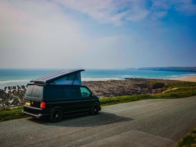 A VW campervan at Freshwater West.