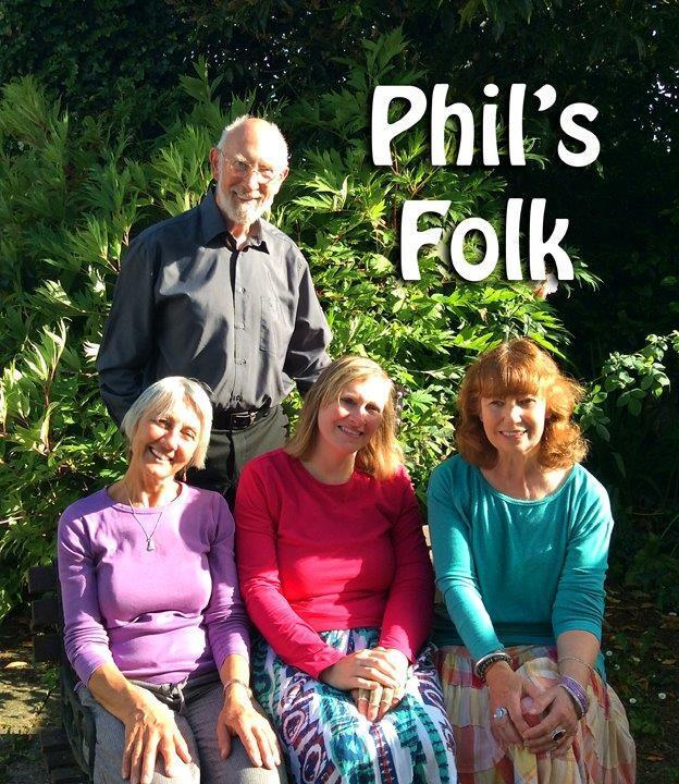 Pictured above are members of Phil's Folk, a four-part close-harmony group that perform an eclectic mix of their own arrangements from standards to the 50s, 60s and 70s music.