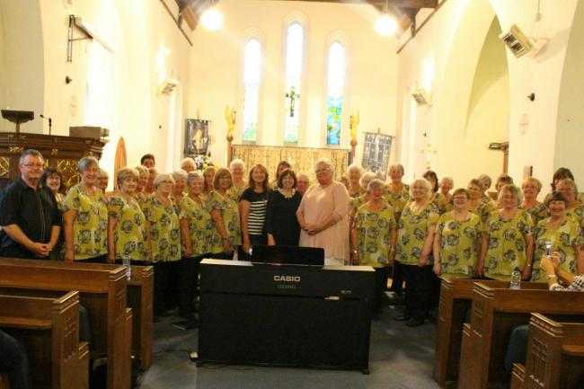 Neyland Ladies Choir members are pictured with Musical Director Lynne Kelleher and accompanist, Peter Griffiths, along with guest singer Sue Oldrieve and Tracey Neale-Ferriera from Roko 20.