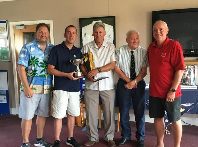 (Left to right) Winners Simon Bourne, Paul Grimwood and David Harris (President), John Dix and Haydn Phillips (Club Captain).