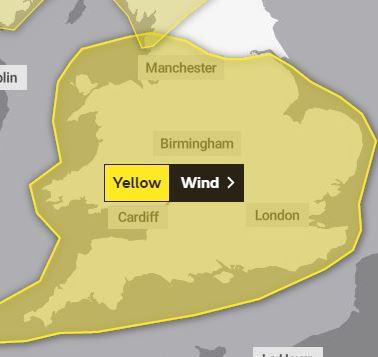 A yellow weather warning for strong winds has been issued. PICTURE: Met Office
