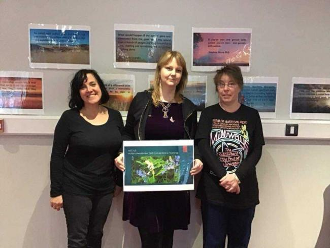 Emma Wishart on the right, with Sian Huntley and Alice Jones of Pembrokeshire People First. PICTURE: Emma Wishart.