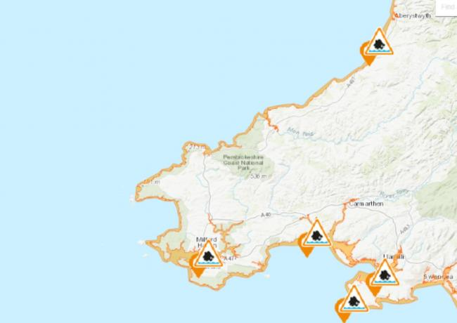 The flood alerts in place around the west Wales coast. PICTURE: Natural Resources Wales.