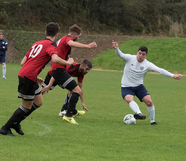 Daniel Morgan on the ball for Fishguard.