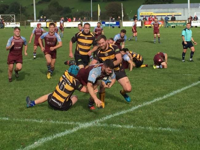 Ryan Foot makes a tackle for St Davids in Lampeter.