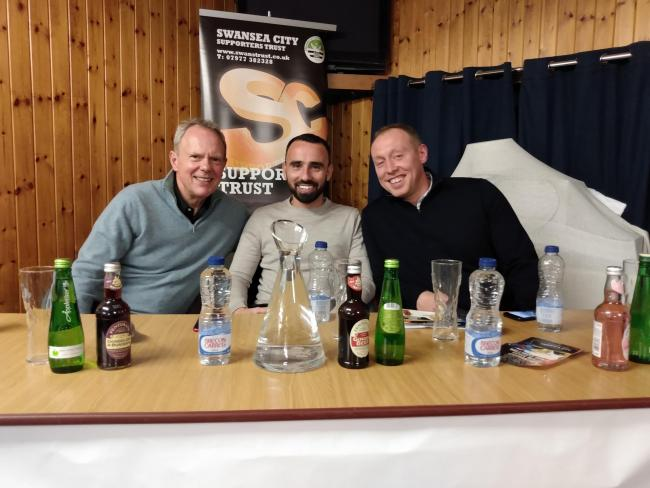 Trevor Birch, Leon Britton and Steve Cooper at Haverfordwest last night.