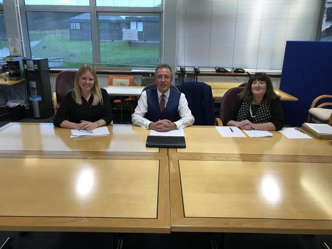 The scholarship panel was chaired by the Port's Chairman Chris Martin (centre) who was joined by Sara Aicken from the Port (left) and Maxine Thomas from Pembrokeshire College (right).