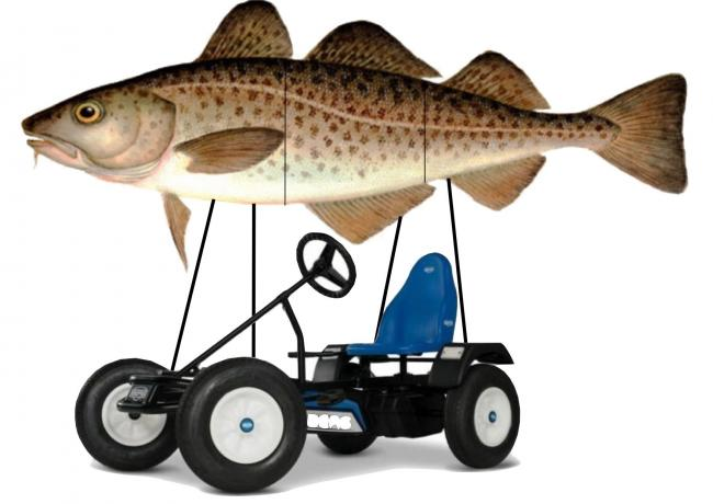An artist's impression of the proposed fish on a go-kart.