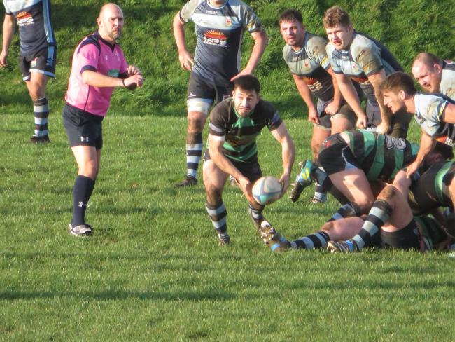 Lewys Gibby goes releases his backs. PICTURE: Narberth RFC.