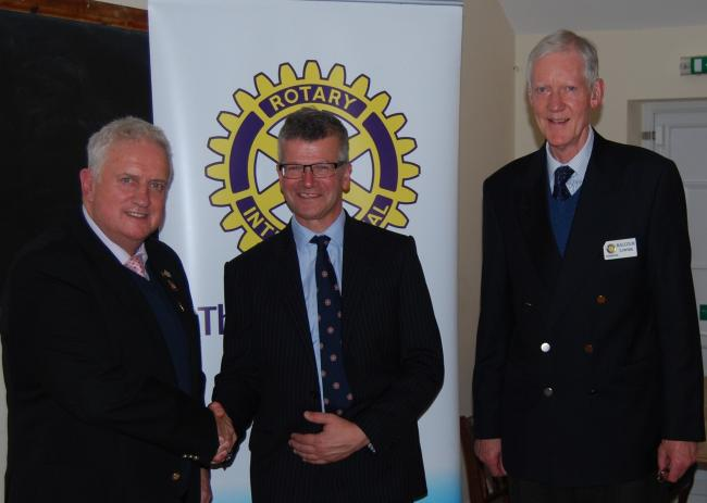 Pictured, from left: Rotary Club of Pembroke President Gavin Lloyd, Nick Makin and Rotarian Malcolm Lowless.