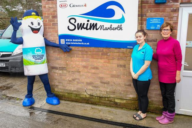 Princes Gate Mineral Water's mascot, Cloudy, had a warm welcome at Narberth pool when he dropped in to deliver a generous donation from the company. He is pictured with SwimNarberth trustee Jenny Price and pool lifeguard Faye. PICTURE: Powerpix Photog