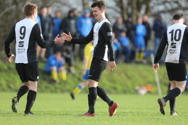 Jason Griffiths and Mike Chandler celebrate a goal in Rhos. PICTURE: Riley Sports Photography.