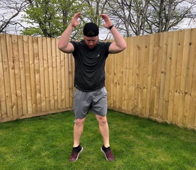 Aled Harries pushing himself on the burpees.