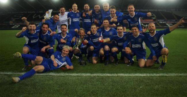 Merlins Bridge celebrate their West Wales Cup win.