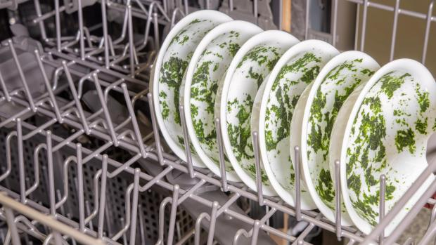 Milford Mercury: It's hard for your dishwasher to remove dried-on food—and spinach is the worst. If you can't run a full normal cycle right away, at least start a rinse cycle. Credit: Reviewed / Jonathan Chan