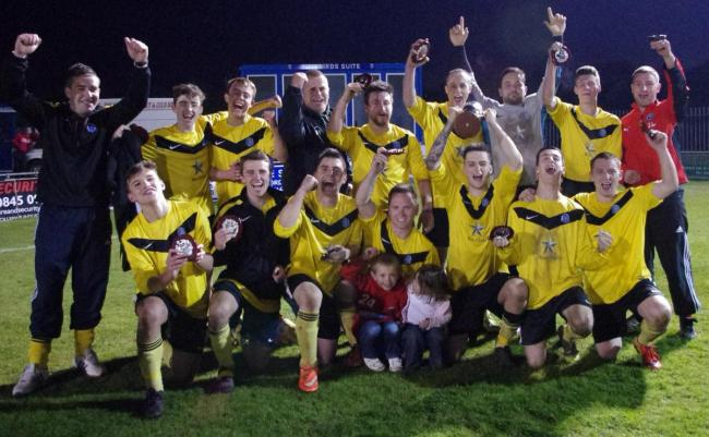 Hundleton celebrate their Second Division Cup win in 2016.