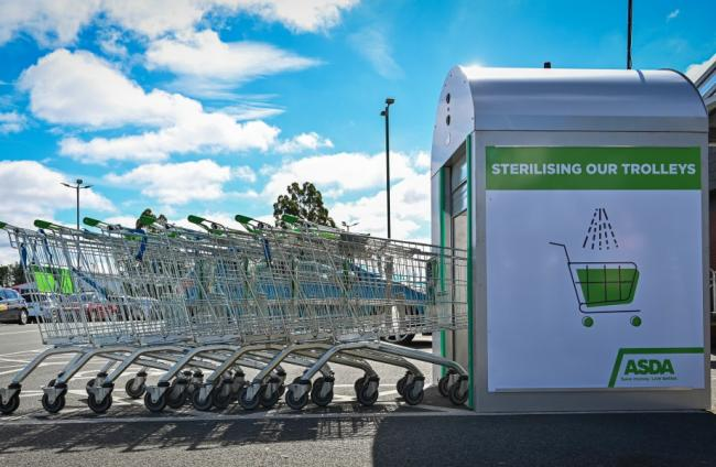 Asda unveils new 'trolley wash' machine to keep shoppers safe. Picture: Asda