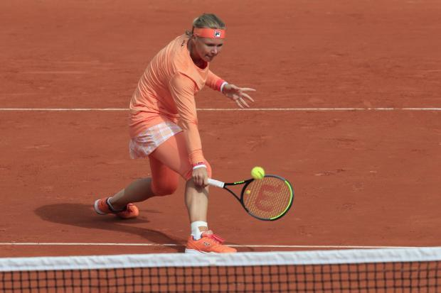 Kiki Bertens plays a volley during her dramatic victory over Sara Errani