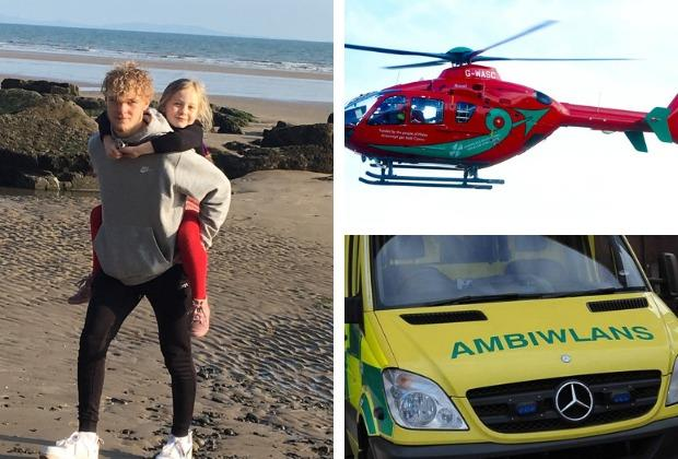 A Pembroke family has raised over £1,000 for two lifesaving services after medics saved their 16-year-old son's life. Main Picture: Bradley Turner and his sister Chloe