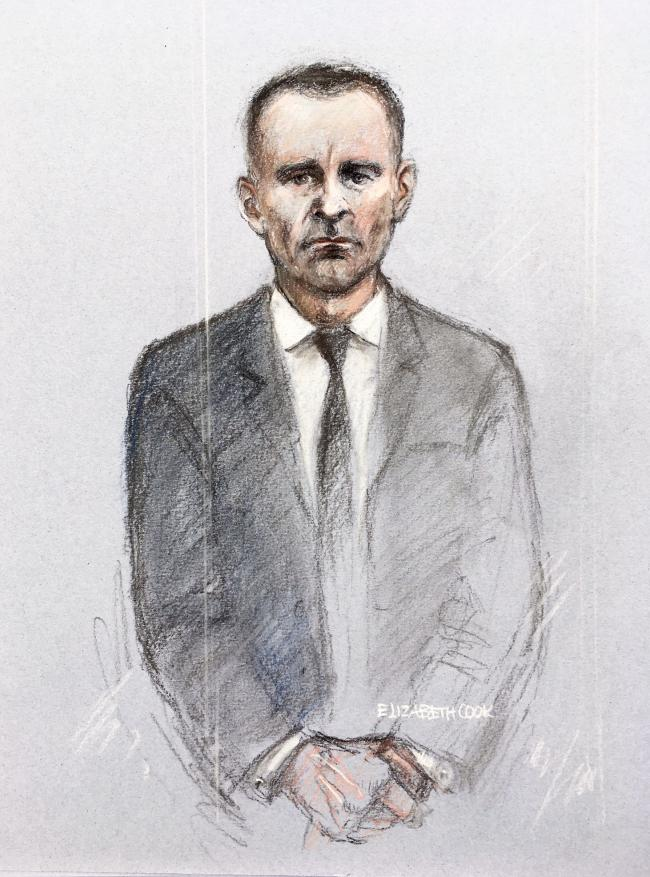 Court artist sketch by Elizabeth Cook of former Manchester United footballer Ryan Giggs appearing at Manchester Magistrates' Court where he is charged with assaulting two women and controlling or coercive behaviour. Picture date: Wednesday April 28,