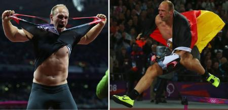 German discus winner Robert Harting tears off his shirt, then decides to give the hurdles a try as he celebrates his gold medal...