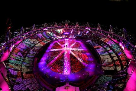 Light show: the Olympic Closing Ceremony....
