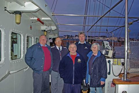 BRANCHING OUT: Roger Hardick, Pembrokeshire Trust supporter; David Rees, voyage crew watchleader, Nigel Davies, voyage crew, bosuns mate, and cook; Captain Simon Catterson, SV Tenacious; and Sue Kenny, Milford Haven former permanent crew, medical purser.