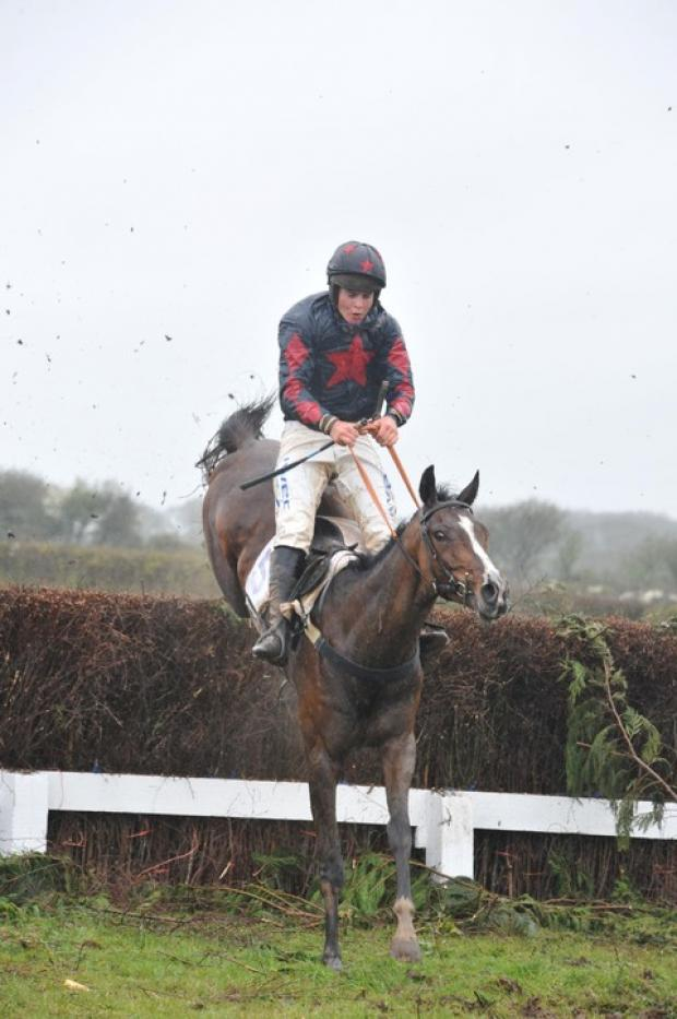 Local champion jockey John Mathias in action last season.