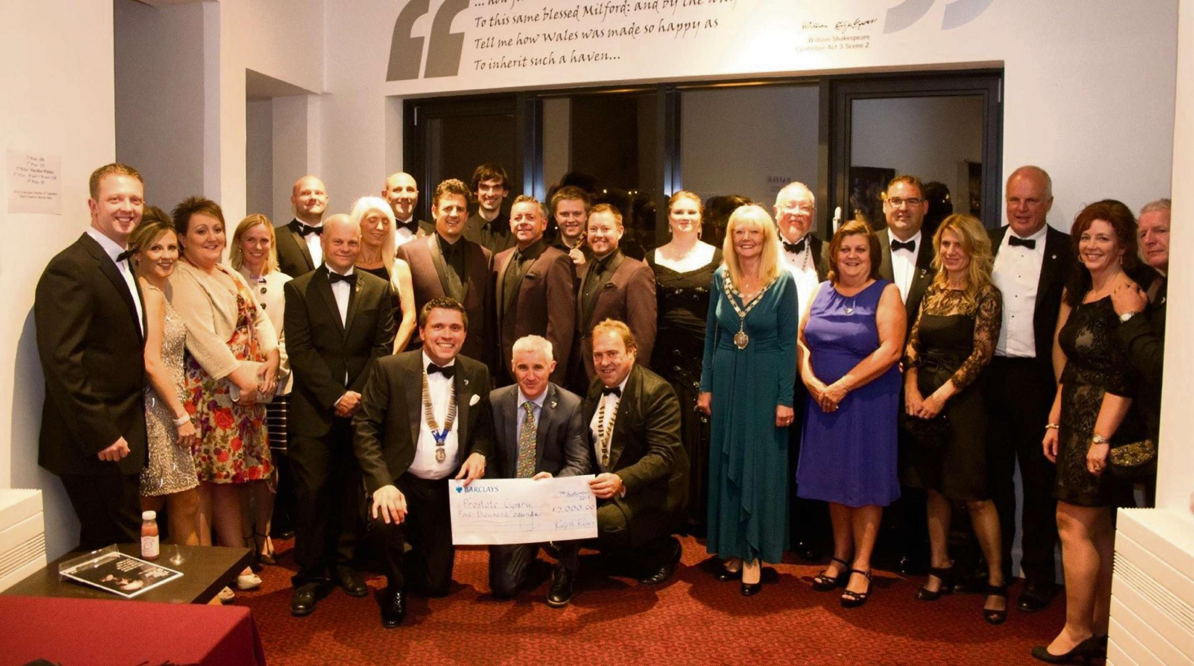 CHEQUE IT OUT: Round Table members presenting the cheque for £5,000 to Prostate Cymru. PICTURE: R. Rees.