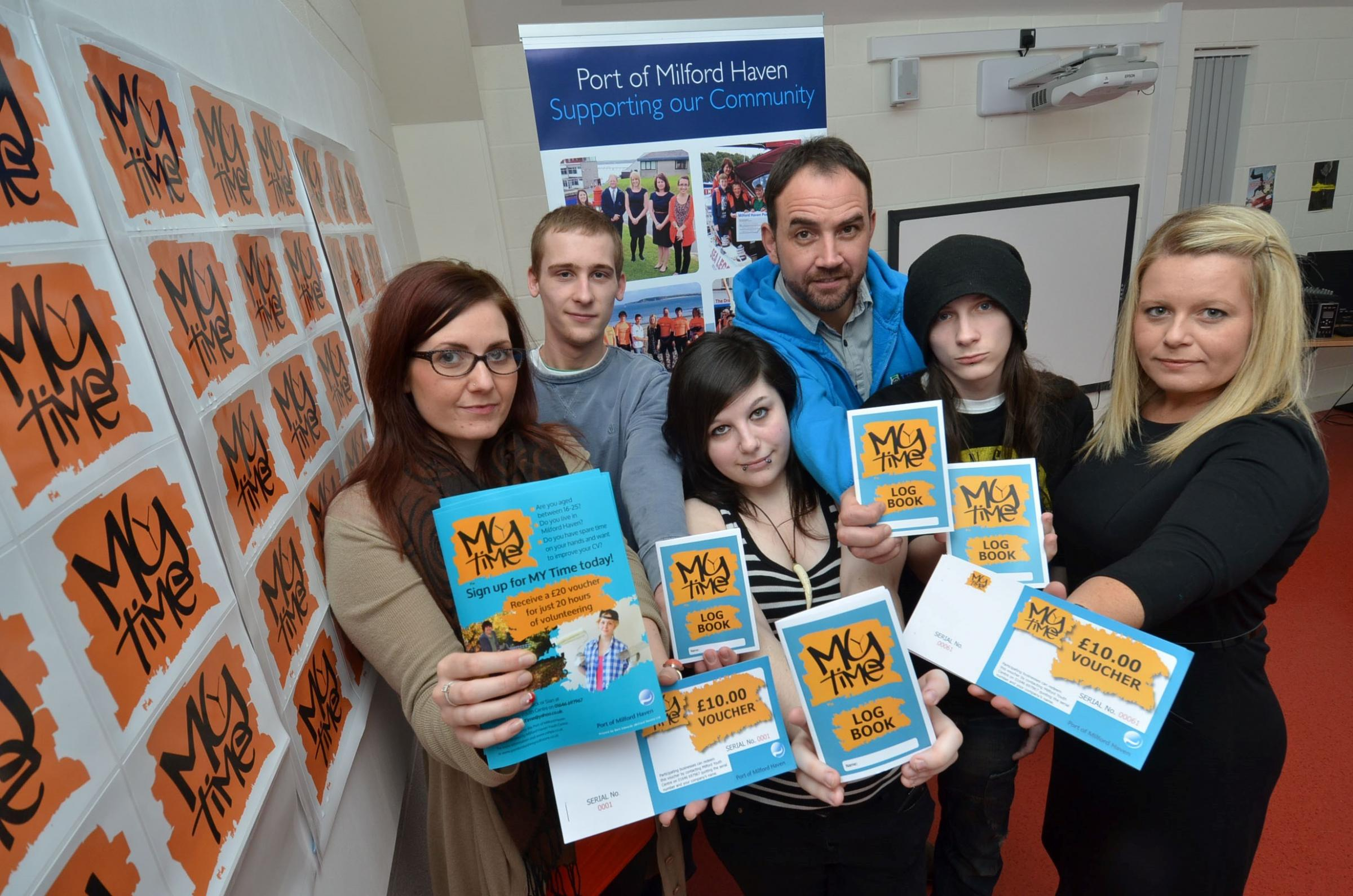 YOUTH MATTERS: Pictured at the launch of  MY  Time are (L-R): Sian Jones, Milford Youth Matters; Mike Tunstall & Crystal-Louise Rayner; Nick Hudd, Pembrokeshire Youth; Zak Phillips and Anna Malloy, Port of Milford Haven. (2841974)