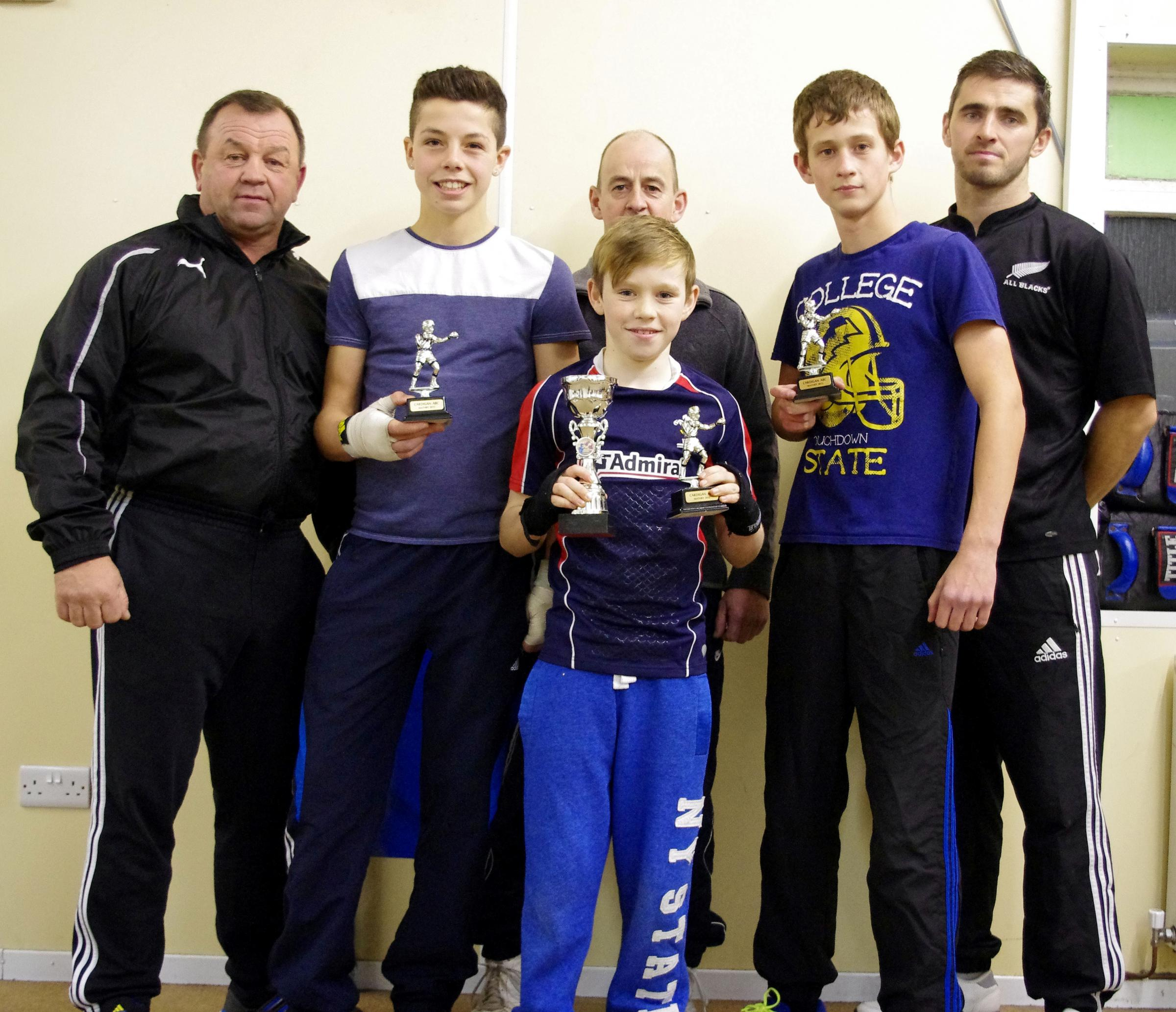 BOXING CLEVER: Coaches Graham Brockway, Wayne Oà 	¢Â�Â�Sullivan, Ian Lewis with trophy winners  Sion Lewis, Alex Oà 	¢Â�Â�Sul