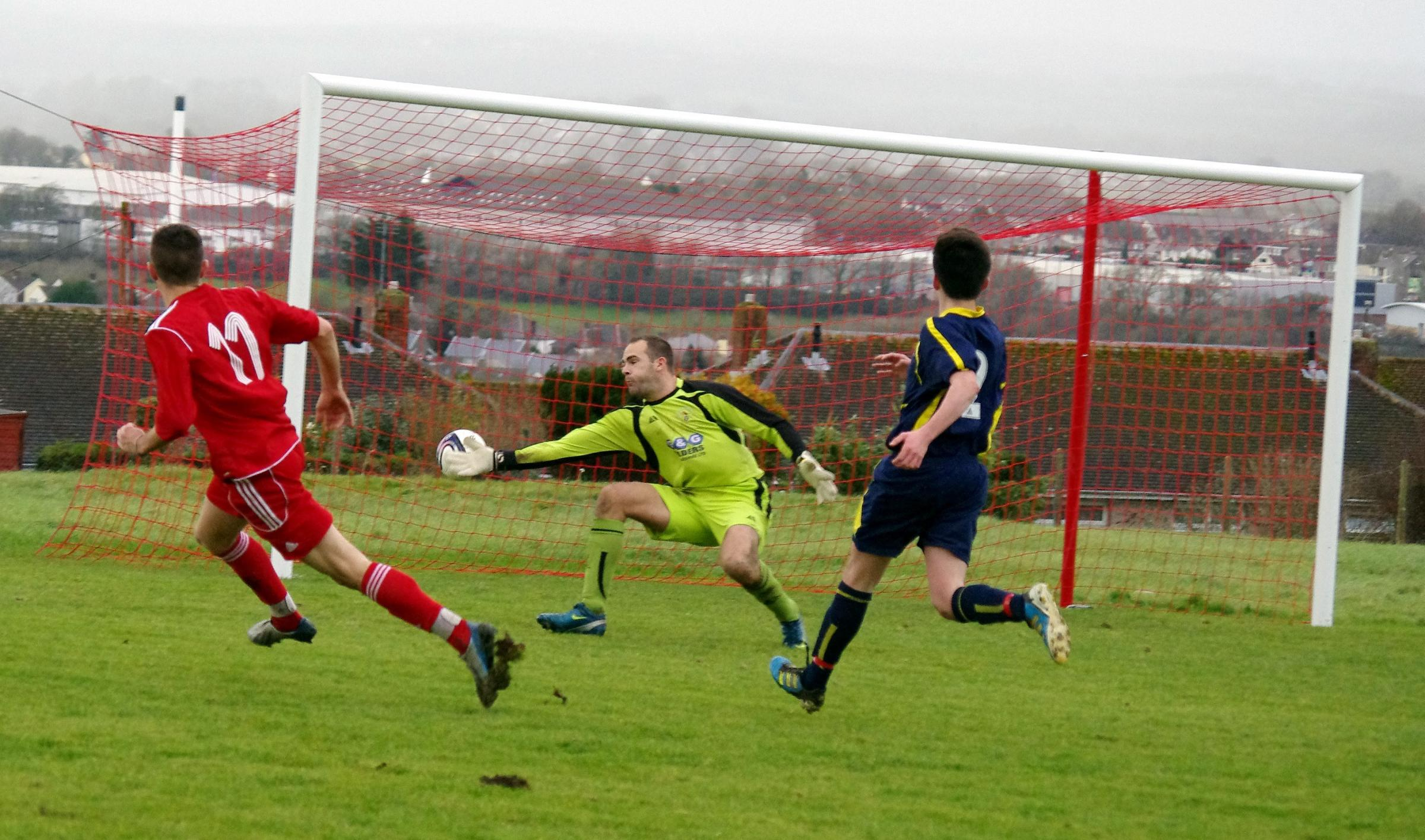 GOALDEN BOOT: Jonny Horgan's strikes West Dragons' third goal in their convincing win against Pennar Robins. (2911786)
