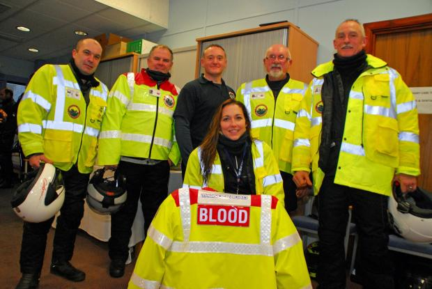 Milford Mercury: RECRUITMENT DRIVE: Blood Bikes Wales chairman Andy Walters and volunteers at last month's (December's) 3 Amigos Toy Run. (3192257)