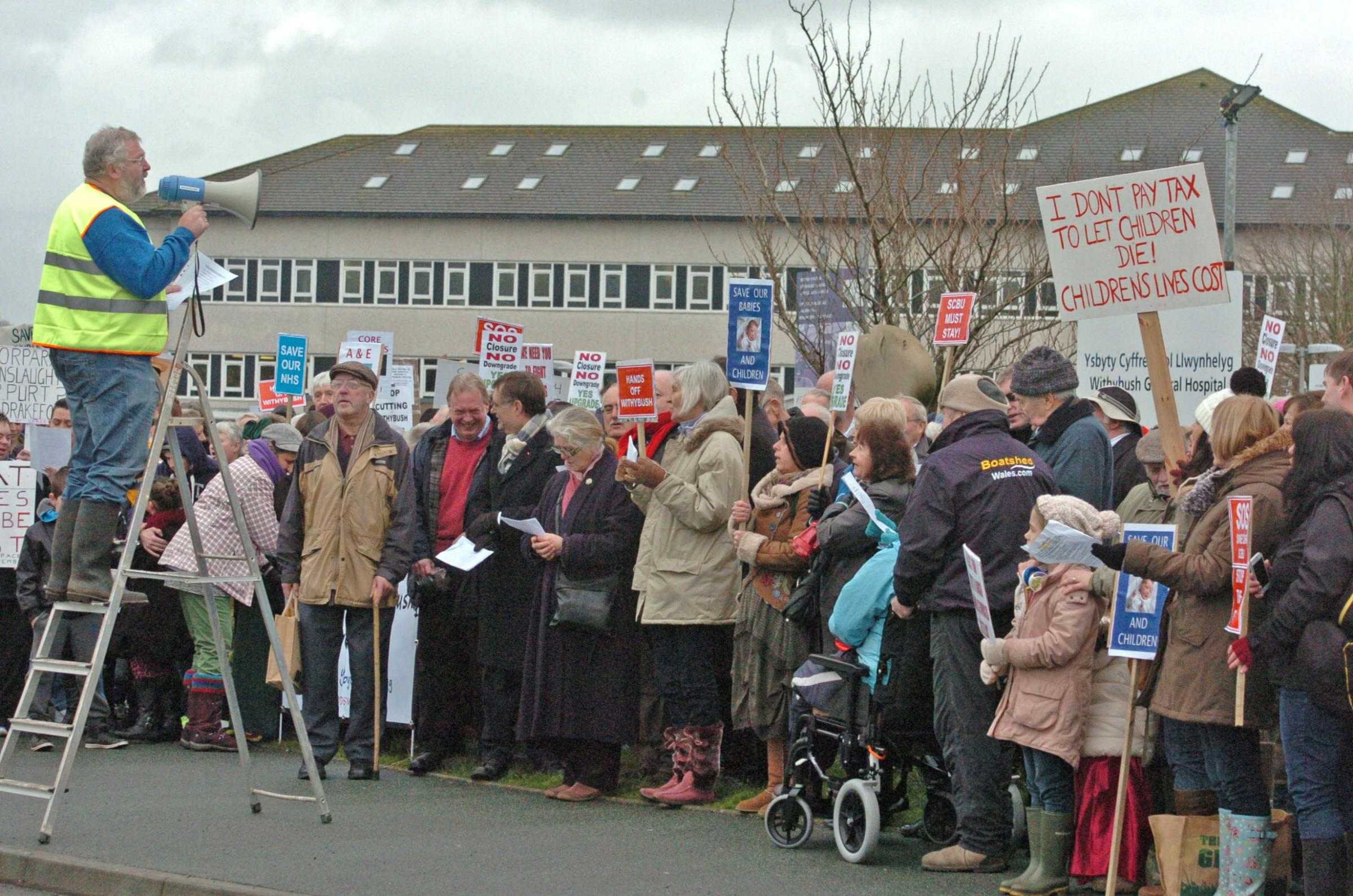 600 protest against cuts to services at Withybush Hospital