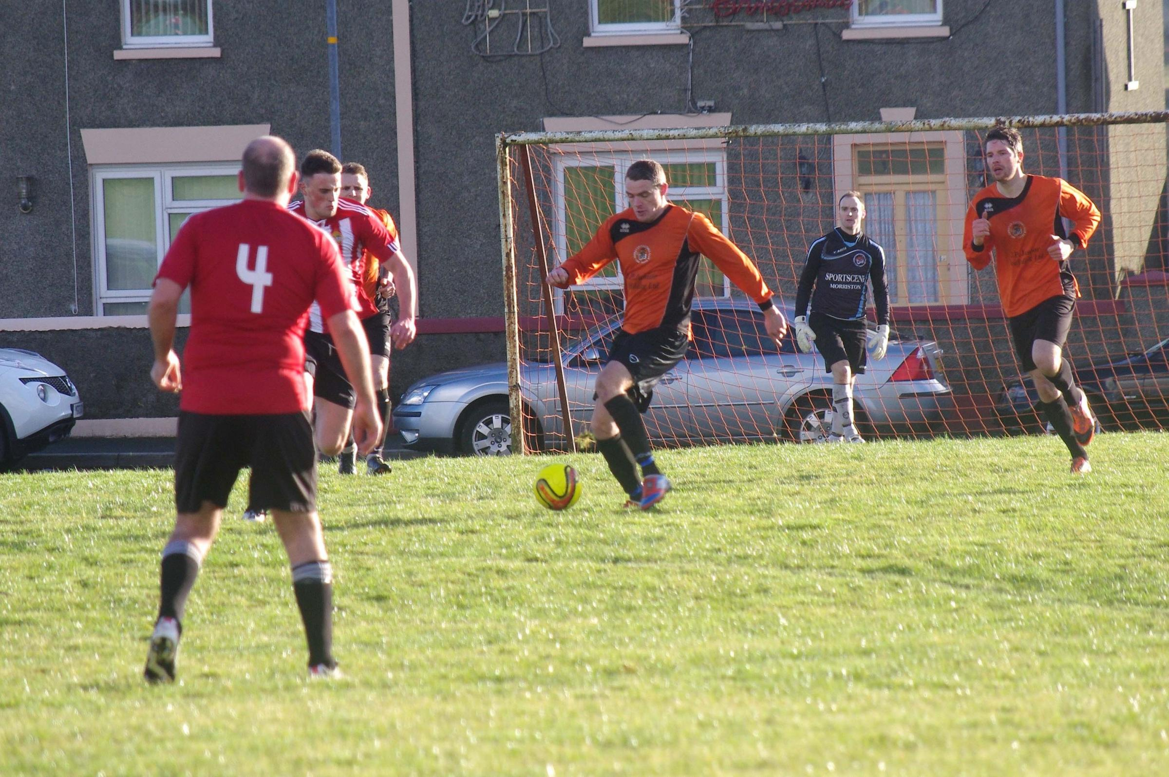 GOAL-DEN BOY: Nicky Woodrow bagged four goals for Johnston in their emphatic 9-0 win over Saundersfoot Sports. (3270020)