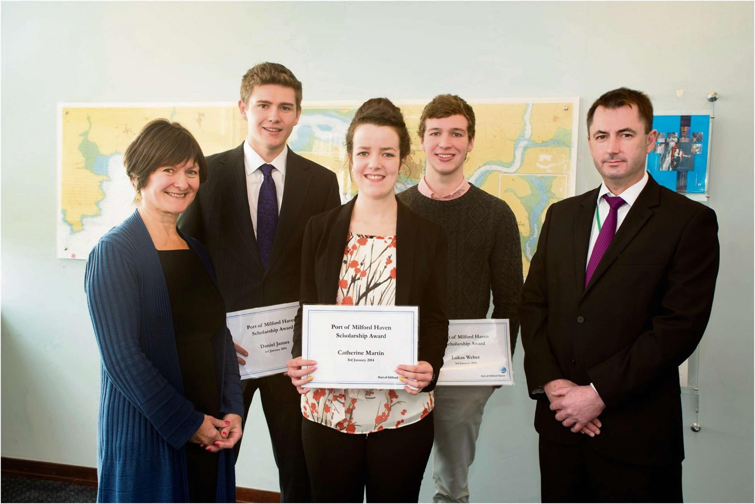 Carole Fletcher, HR Advisor at the Port of Milford Haven; scholarship winners Daniel James, Catherine Martin and Lukas Weber; Rod Francis, Head teacher at Milford Haven School.  PICTURE: Aurora Imaging.  (3436881)
