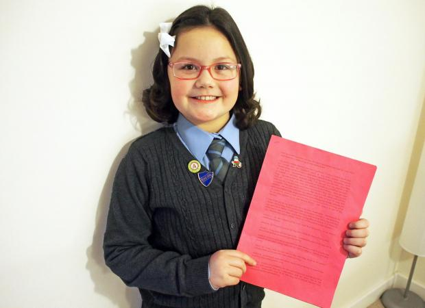 STANDING UP FOR PEMBROKESHIRE: Nine-year-old Megan Rickard is petitioning the health minister about potential changes to healthcare. PICTURE: Milford Mercury (3454141)
