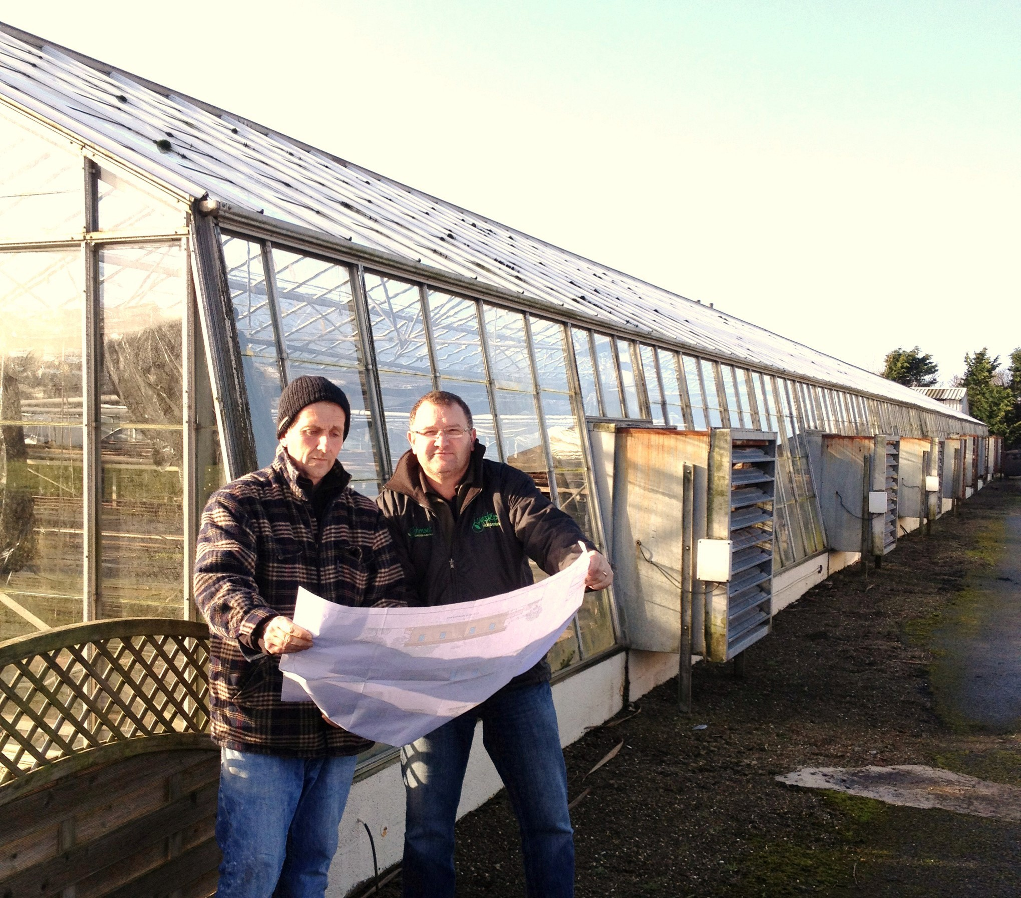 SUCCESS: Co-owner Jonathan Boot and Rowland Stardy looking at the plans for St Ishamels Garden Centre. (3595805)
