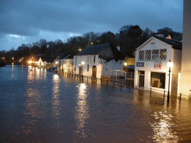 Flooding in Haverfordwest, earlier this month.
