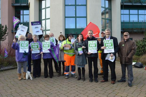 UNITED: Members of the Unite and Unison trade unions made a stand outside County Hall on TuesdayPICTURE: Western Telegraph