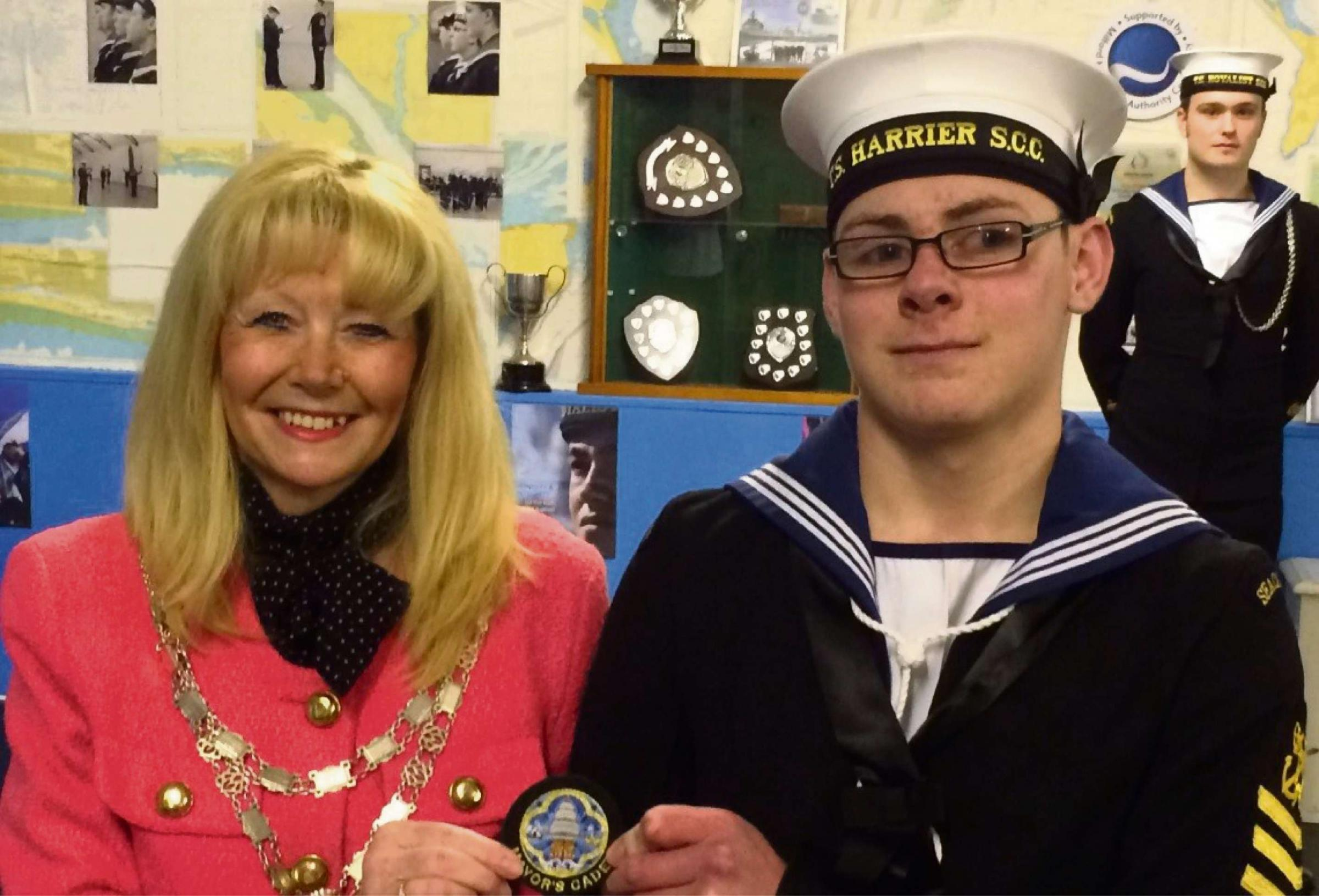 NEW APPOINTMENT:  Mayor Cllr Yvonne Southwell with Mayor's Cadet, Petty Officer Cadet Daniel Tucker. (3787130)