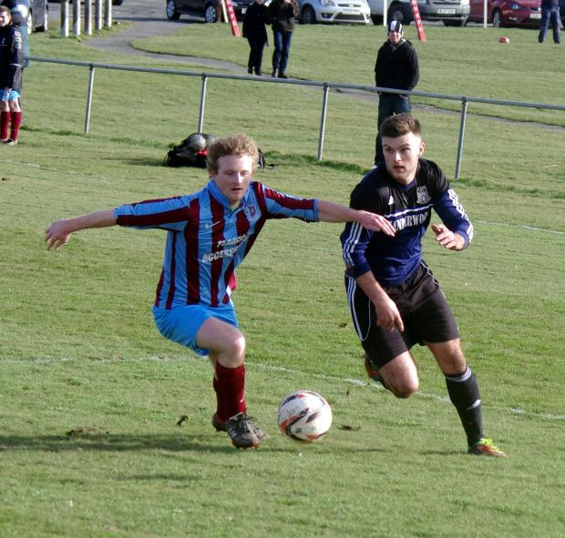 EASY DOES IT: Hakin United's Ashley Bevan on his way to opening the scoring. PICTURE: Western Telegraph. (4038096)