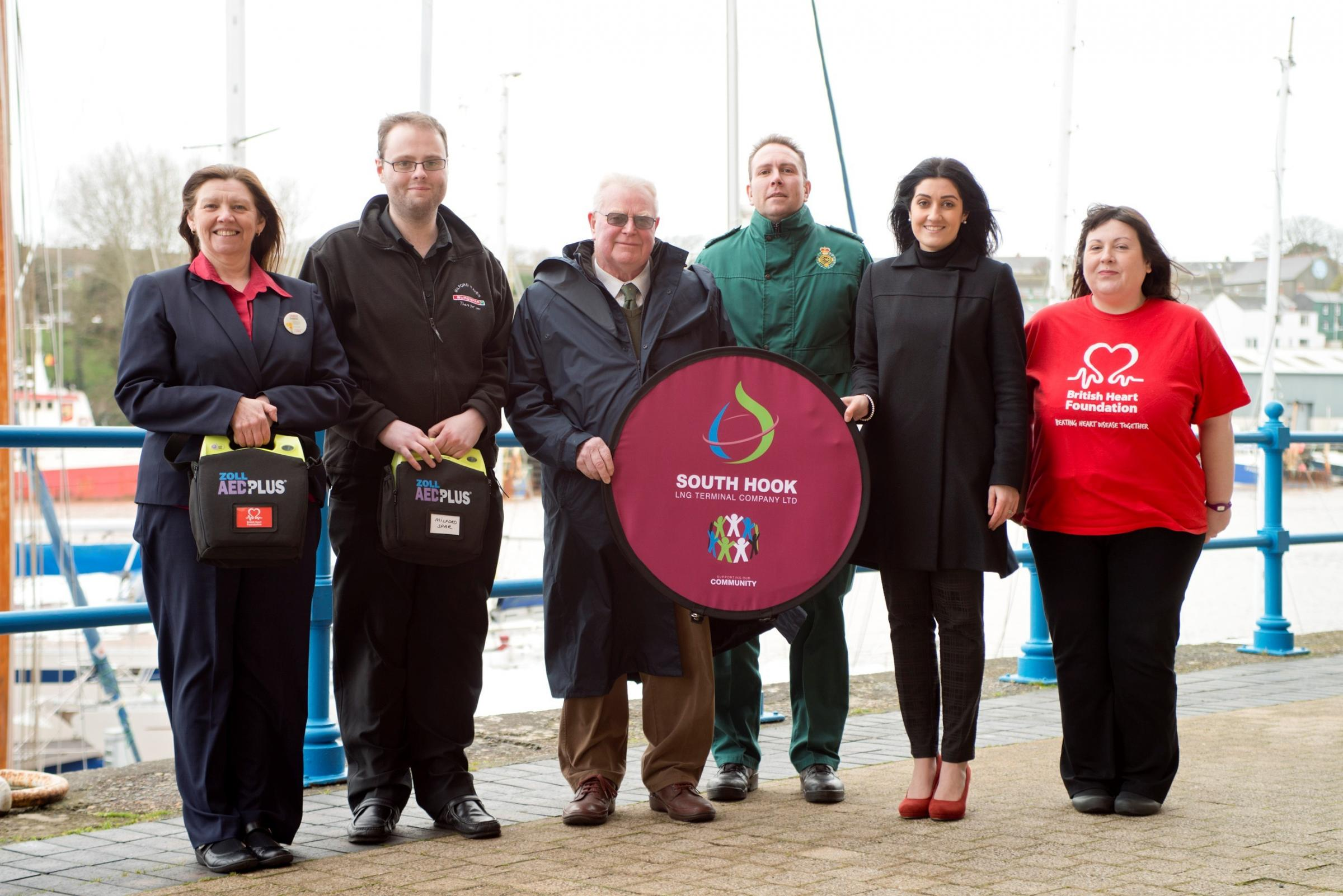 HEART OF THE COMMUNITY: Debbie Mills, Tesco Store Milford Haven, Richard Harries Milford Haven Spar store,   Alan Carrington Haverfodwest and Milford haven Chairman, Gethin Bateman Welsh Ambulance Service,  Mariam Dalziel South Hook LNG,  Jayne Lewis BHF