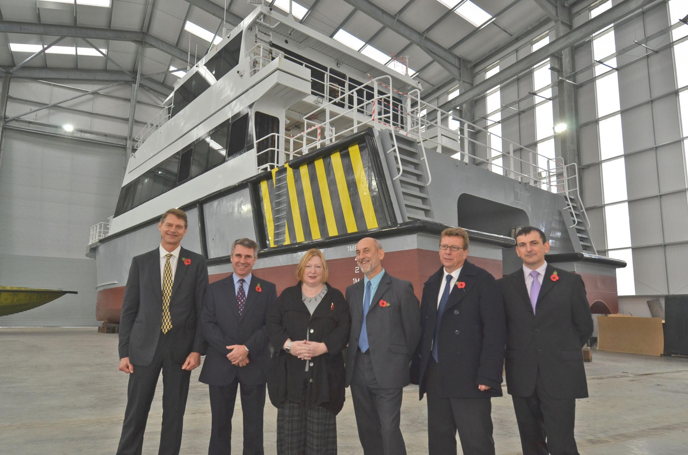 Edwina Hart opens the £1.5m Mustand Marine boat building construction hall in November. PICTURE: Martin Cavaney.