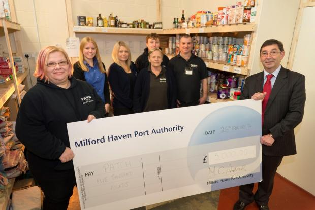 CHEQUE IT OUT: (Left to right) Tracy Olin, PATCH Co-ordinator; Sara Andrew and Anna Malloy, Port of Milford Haven, PATCH volunteers and Mark Andrews, Corporate Affairs Director at the Port of Milford Haven. (4560753)