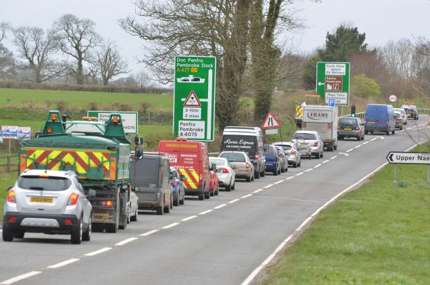 Traffic congestion at the roadworks. PICTURE: Martin Cavaney.