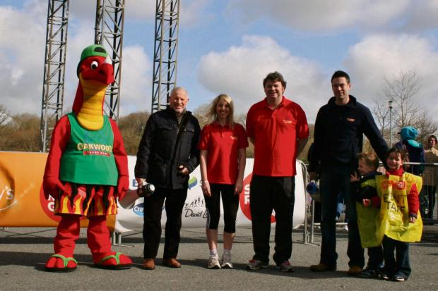 Milford Mercury: CHARITY THEME: Scorch the Dragon with Councillor David Pugh, Oakwood's Clare Stansfied, Dominic Jones and David Stock. (4910583)