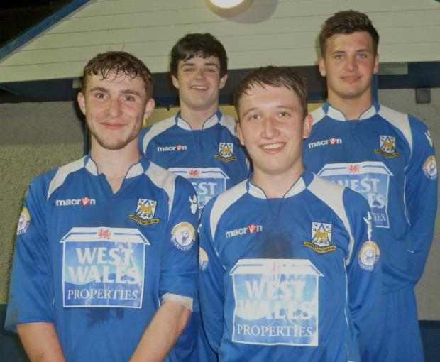 GOAL SCORERS: Laurie Haworth, Sean O'Neil, Liam Fawcett and Ryan Mansell. Picture Bill Carne. (5098489)