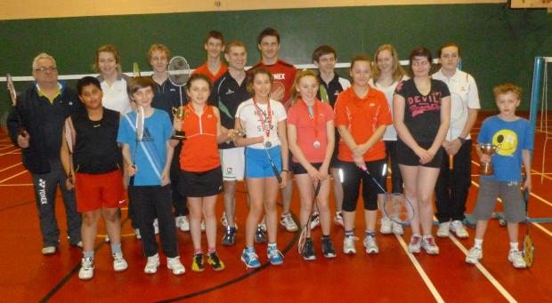 Milford Mercury: WHAT A RACKET: With the youngsters who gave me a run around! PICTURE: Bill Carne.